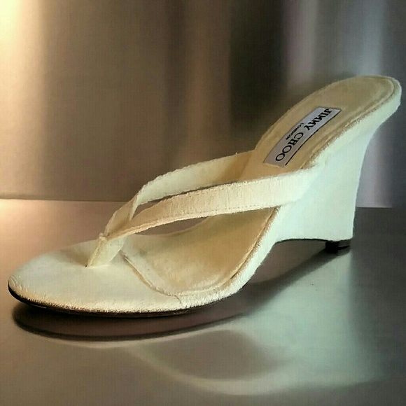 755ef0491be9 Jimmy Choo Thong Wedge Heels 39.5 Fits 8.5 9